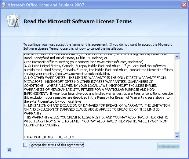 microsoft office 2007 licence check